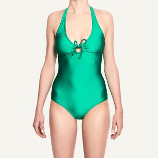 Marisa Halter Neck Swimsuit Disco Green