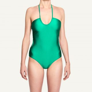 Jenna Cut Out Bandeau Swimsuit Disco Green