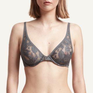 Zoe Plunge Bra Grey Paris