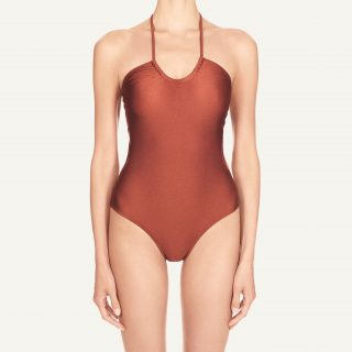 Jenna Cut Out Bandeau Swimsuit Tan