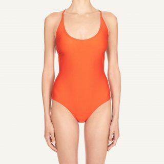 Lana Décolleté Swimsuit Hot Orange