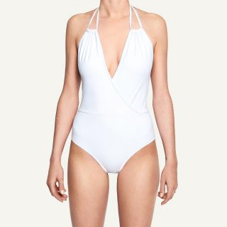 Clara Crossed Décolleté Swimsuit White